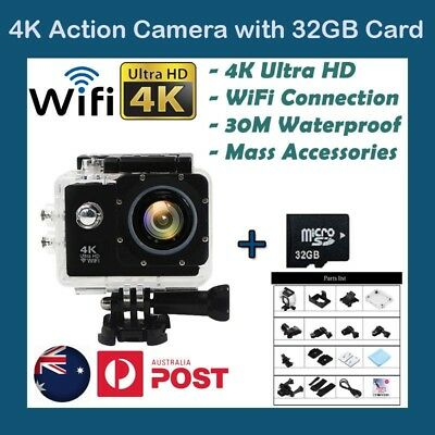 Free 32GB SD Card 4K WiFi GoPro Waterproof Sports Action Video Camera 1080p FHD