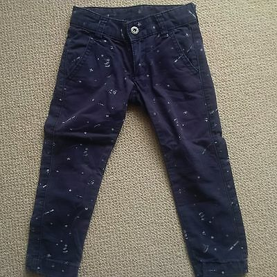 seed boys navy skinny pants with star print size 1-2