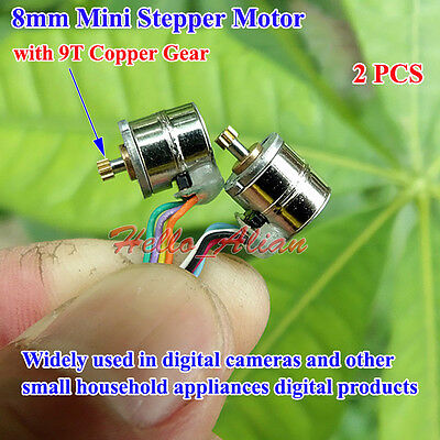 2PCS Mini 8mm Stepper Motor 2-phase 4-wires With 9 Teeth Metal Copper Gear New