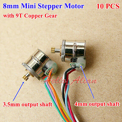 10pcs Micro Stepper Stepping Motor 2-phase 4-wires 8mm with 9T Metal Copper Gear