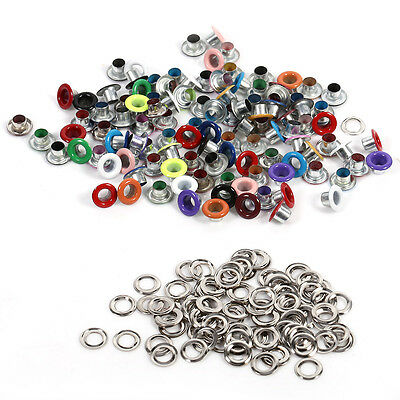 100pcs 4mm Metal Eyelets Grommets +100 Washers Set for Leather Craft DIY Sewing