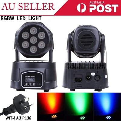 New RGBW 7 LED 4-in-1 Moving Head Light DMX-512 DJ Disco Stage Party Lighting