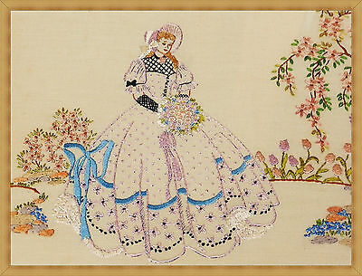 Antique Linen Picture Panel ~ Hand Embroidered Pretty Crinoline Lady Unframed