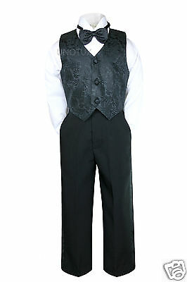 Baby Infant Boy Toddler Baptism Formal Wedding Vest Suit Black S M L XL 2T 3T 4T