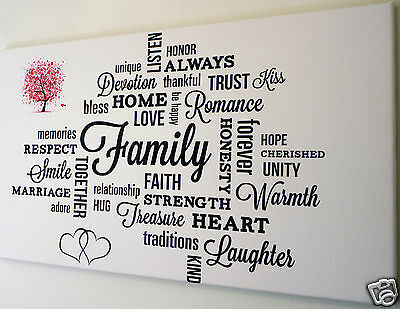 """Family Love Verse Wall Art Canvas Picture  Large 18"""" X 32"""""""