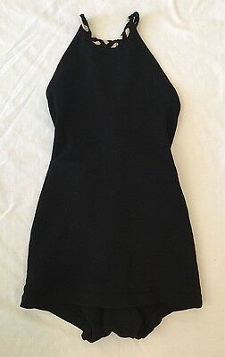 1920's - 30's - Vintage Deco Wool Black/White Halter Bathing Swimsuit