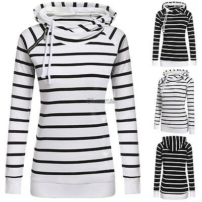 New Fashion Women Casual Double Hooded Striped Long Sleeve Pullover Hoodie OK01