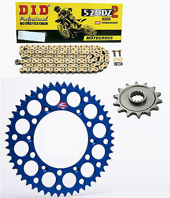 DID gold race chain & 13t/48t Renthal blue sprocket kit Yamaha YZ125 2005-2016