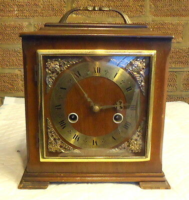 SMITHS ENFIELD. Chiming Mantel Clock Inlaid with Gold Meddalions. Works.