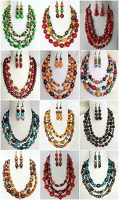 Ethnic Inspired: Womens Tribal Statement Necklace Earrings Jewellery Gift Set