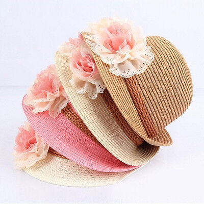 Baby Girls Children Kids Summer Flower Sun Adumbral Straw Hat Beach Cap