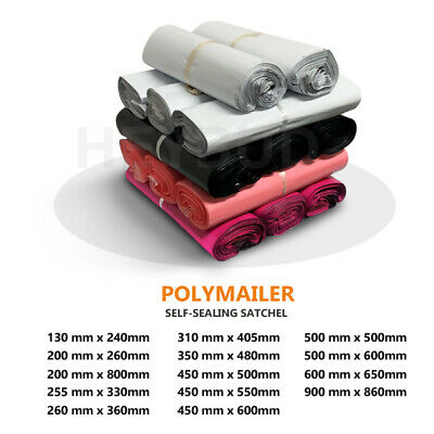 5 Size Poly Mailer Plastic Satchel Courier Self Sealing Shipping Bag 255mm-545mm
