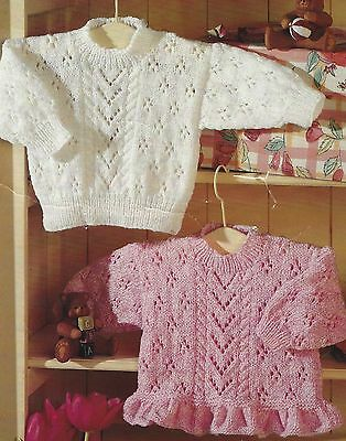 """Baby Girls Lace Sweaters Knitting Patterns with frilled Hem option 16-26"""" DK 425"""