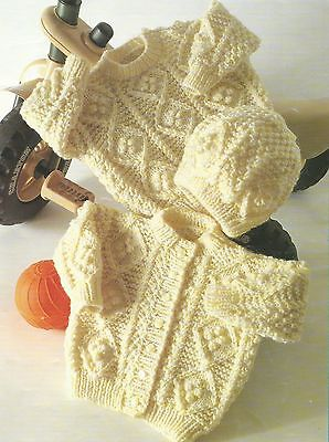 """Baby Sweater Cardigan and Hat Kniting Pattern in Aran 16-22"""" 252"""