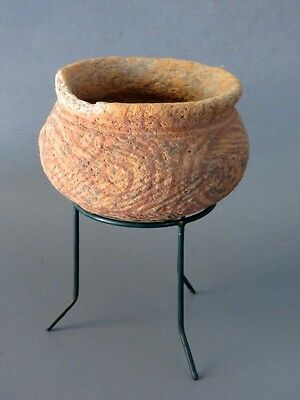 1# Original Ancient Ban Chiang pottery Bowl with Stand From Thailand Cheap LOOK!