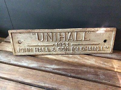 """Vintage Original 1950's Cast Iron Factory Name Plate Sign """"UNIHALL OLDHAM 1953"""