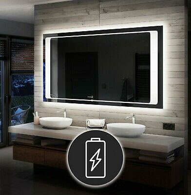 LED Illuminated Bathroom Mirror Battery Operated To Measure Custom Size L61