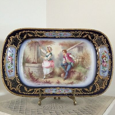 Handpainted and Signed Large Antique  Sevres Charger With brass trim