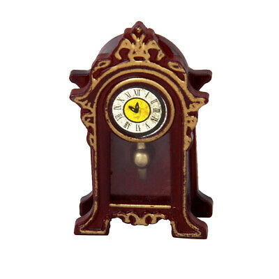1:12 Doll House Antique Style Wood Table Mantel Clock Vintage Room Decor Toy