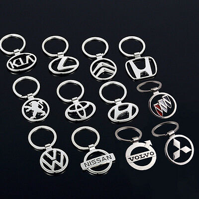 Fashion Mens 3D Hollow Car Logo Keychain Metal Key Chain Pendant Holder Key Ring
