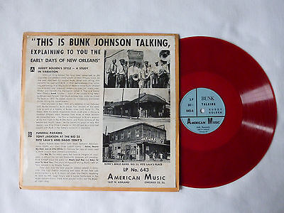 "This Is Bunk Johnson Talking ~ Rare 1952 Us 10"" Red Jazz/interview Vinyl Lp"
