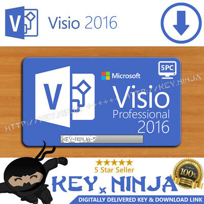 Microsoft Visio Professional Pro 2016 Key (5PC) 32/64bit Digital Office Licence