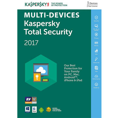 Kaspersky TOTAL SECURITY 2017 3 Device 2 Year MultiDevice Windows Mac Android PC