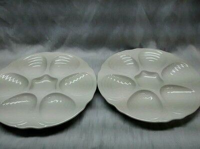 Very nice 2 vintage Hall made in USA white shell plates oyster plates
