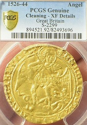 Great Britain King Henry Viii Gold Angel Pcgs Secure Xf Lightly Cleaned