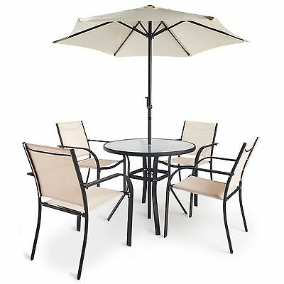 VonHaus 6 Piece Dining Set Outdoor Furniture Set with Glass Topped Table 4 Chair