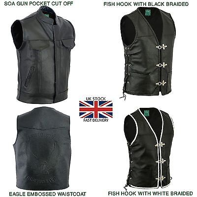 "Real Leather Motorcycle Black Various Style Biker ""cut Off"" Waistcoat / Vest"