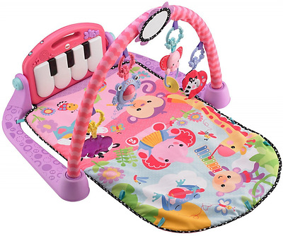 Fisher-Price Kick Play Piano Gym Pink Mat Activity Baby Large Musical Soft Music
