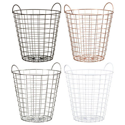 Metal Wire Woven Waste Paper Basket Bin with Handles Home Office 5L
