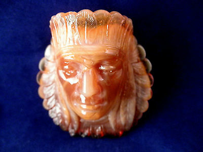 Vintage Caramel Swirl Head Slag Glass Toothpick Holder 2 1/4""