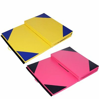 "4""x10""x2"" Gymnastics Mat Thick Folding Panel Gym Fitness Exercise Yellow/Pink DE"