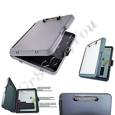Storage Plastic Clipboard Hard Gray Solid Briefcase Paper Letter Documents Case