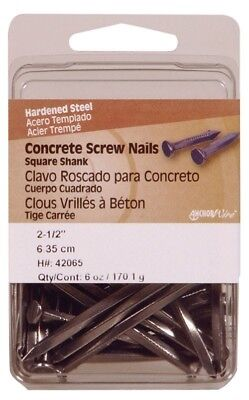 "Hillman Concrete Screw Nails 2-1/2 "" Square Steel Clamshell Pack of 5"