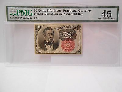 10 Cents fifth issue fractional currency Fr#1266,Short thick key, PMG 45