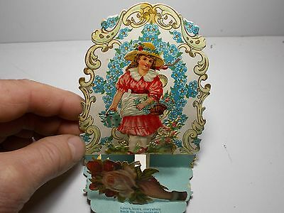 Antique Victorian Valentine's Card Stand Up Pop Out Polychrome Die Cut