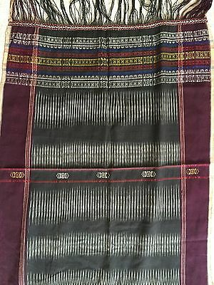 E195 Antique Batak Ulos Shoulder Cloth Woven Textile