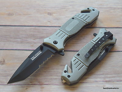 8 Inch Overall Tacforce Spring Assisted Tactical Rescue Knife With Pocket Clip