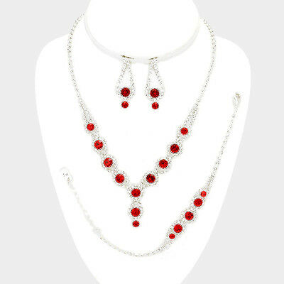 Red diamante necklace bracelet earring set sparkly bling prom evening party 531