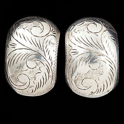 Antique Vintage Deco Sterling Silver Mid Century Retro Repousse Puffy Earrings!