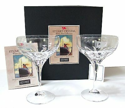 Pr STUART CRYSTAL WHITE STAR CUNARD TITANIC Champagne Glasses MIB boat nautical