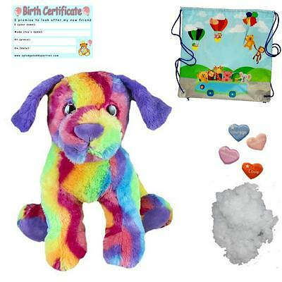 "RAINBOW DOG - BUILD A TEDDY BEAR KIT -16""/40CM - add T-SHIRT/RECORD SOUND BOX"