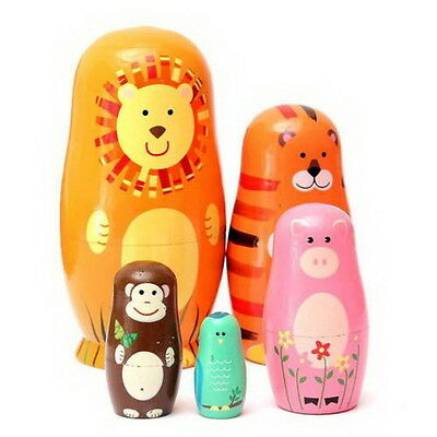Set of 5pcs Cute Wooden Nesting Dolls Matryoshka Animal Russian Doll Paint DE