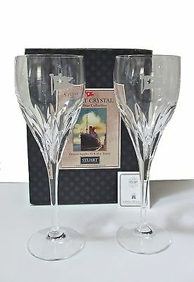 Pr STUART CRYSTAL WHITE STAR CUNARD TITANIC Wine Glasses PAIR MIB nautical yacht