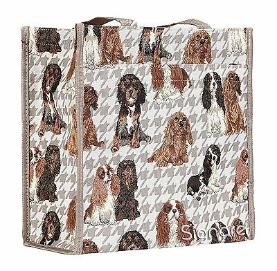 Signare Womens Fashion Tapestry Shopper Bag Shoulder Bag in Cavalier King Dog