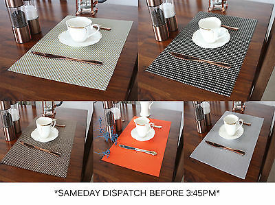Moroccan Weaved Set of 6 Dining Table Mat Placemats Vintage PVC Insulation Plaid