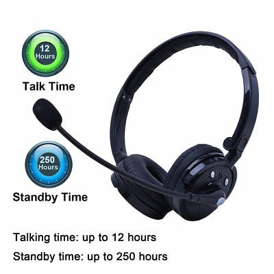 Bluetooth 4.1 Stereo Noise Cancelling Boom Mic Headset Headphone For Trucker PS3